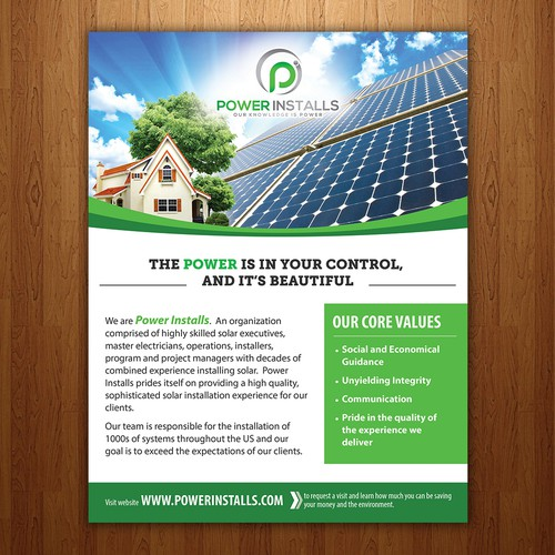 Create a clean, powerful flyer for homeowners to go solar that