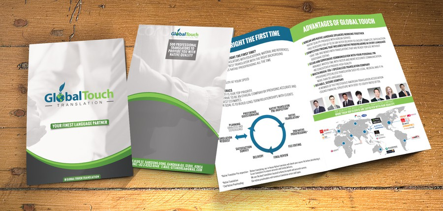 Create an attractive brochure for a translation company in