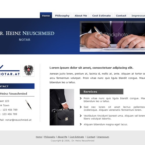 Design Of A Notary Website Closed Web Page Design Contest 99designs