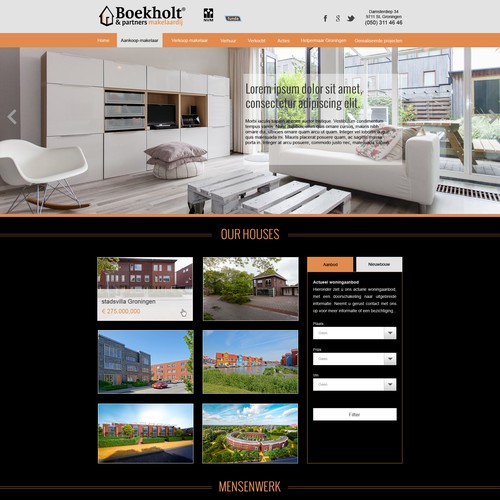 Real estate agent in the netherlands needs redesign web for Dutch real estate websites