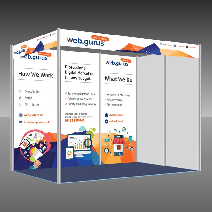 trade show booth stand design for digital marketing agency