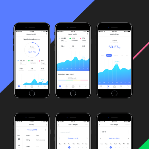 design simple  professional ui for a weight tracker app