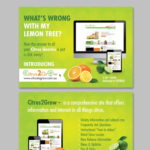Citrus Site needs eye catching Promotional Post Card with zest and zing Design by istasik