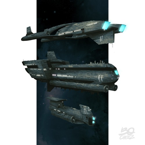 Spacecraft Illustration for Novel Design by Bocheez