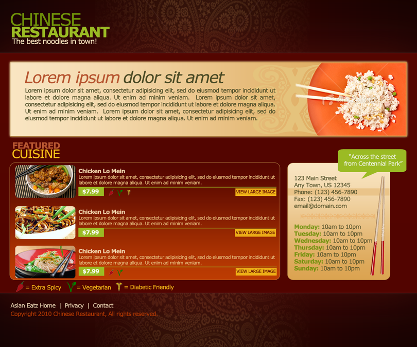 Chinese restaurant website template web page design contest