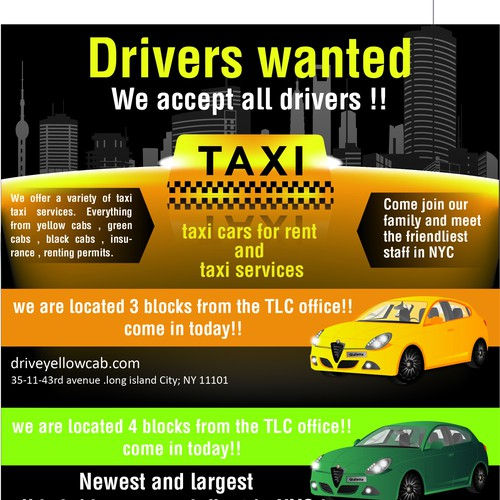 Poster design for taxi company and services | Postcard, flyer or
