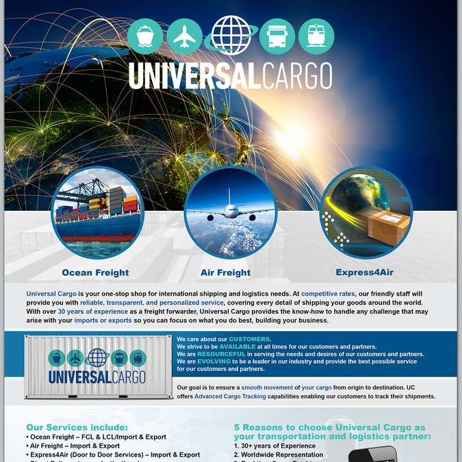fun modern flyer for cool shipping company universal cargo はがき