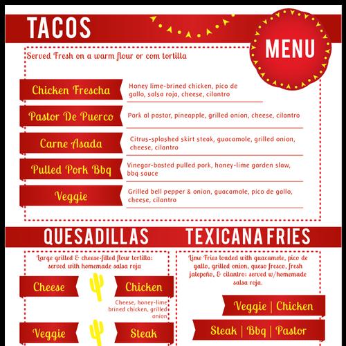 Tex Tacos Food Truck Menu