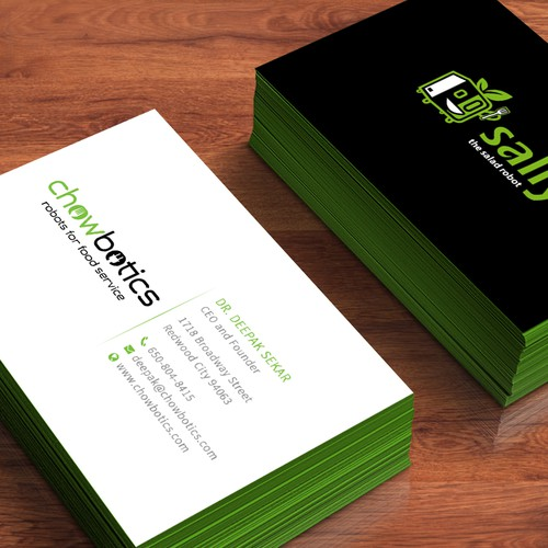 Business Cards For Salad Robot Company Business Card Contest