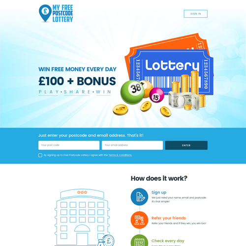 Fast growing lottery needs a cool new site | Web page design contest