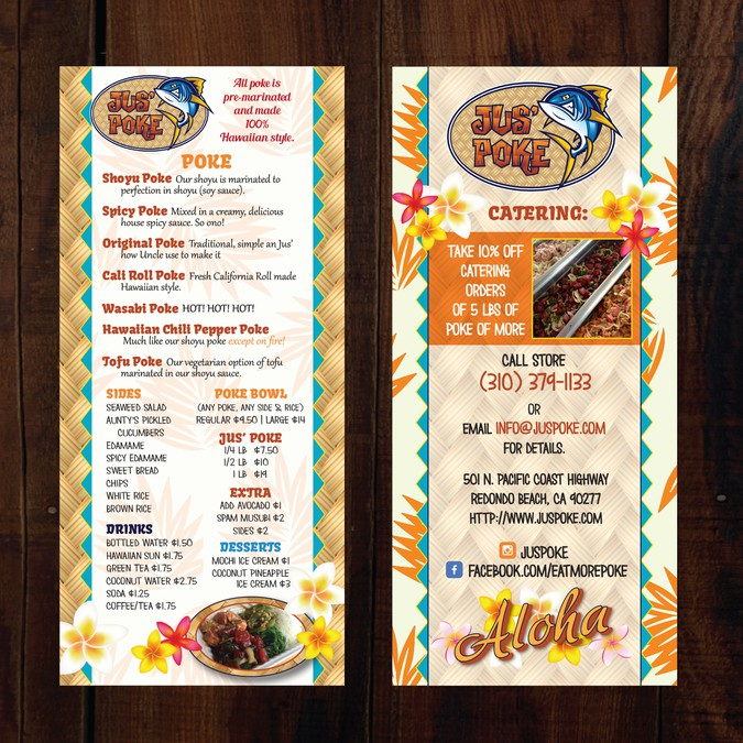 design hawaiian to go menu for jus poke voted best of la はがき