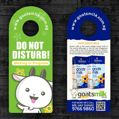 Create a cheeky postcard door knob hanger with my goat mascot. Design by LireyBlanco