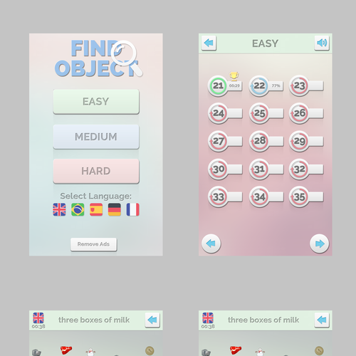 Game App Design Home: UI Design For Real Find Objects - Mobile Puzzle Game