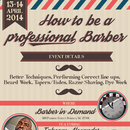 Create an exciting flyer for vintage barber shop Design by esse.