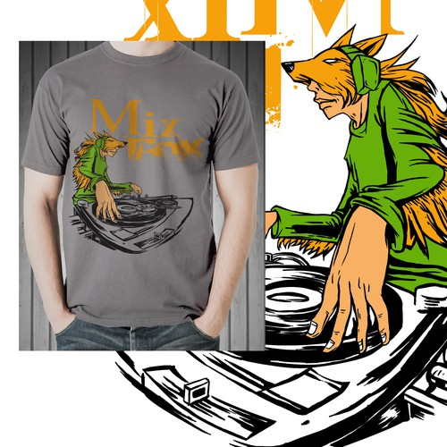 We are looking for a Hip-Hop themed humanoid fox scratching on djstyle turntables. Design by DADSQUAD