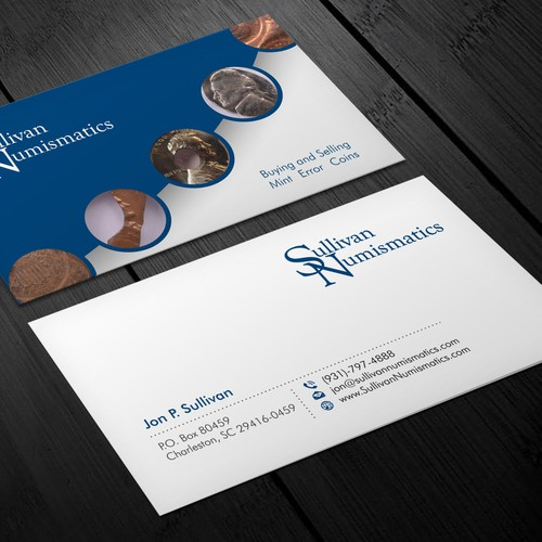 Business card for rare coin dealer in mint errors business card runner up design by xclusive16 reheart Gallery