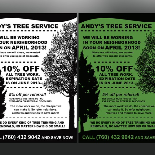 help andy s tree service with a new postcard or flyer postcard