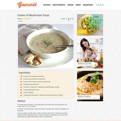 Website design for the foodrecipe site gourmettodaycipes runner up design by delegate2win forumfinder Image collections