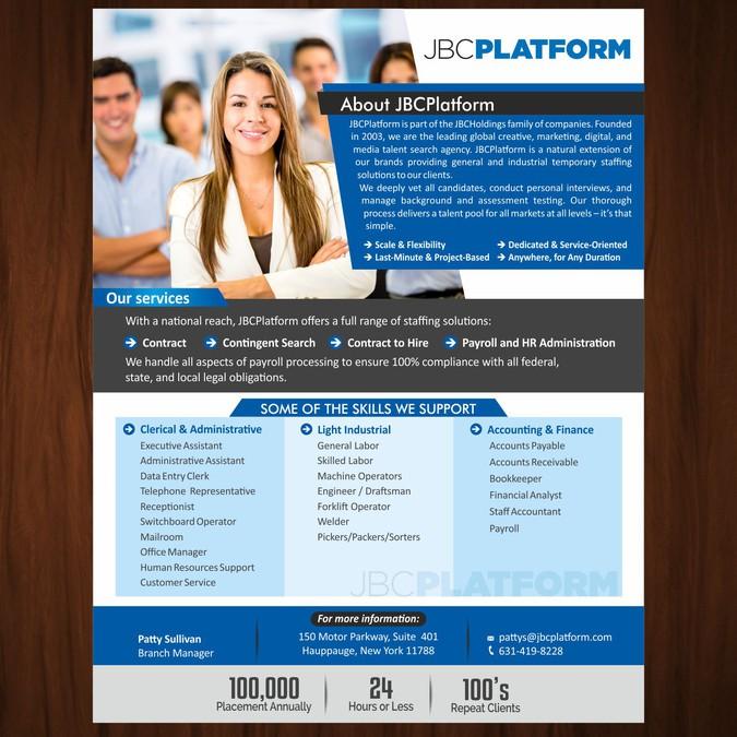 create a one page marketing flyer for jbcplatform postcard flyer