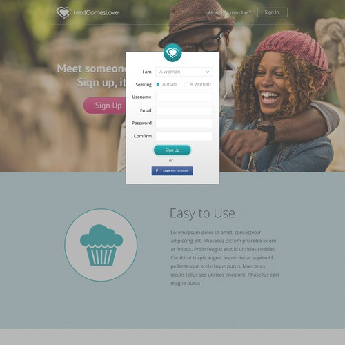 dating site landing page design