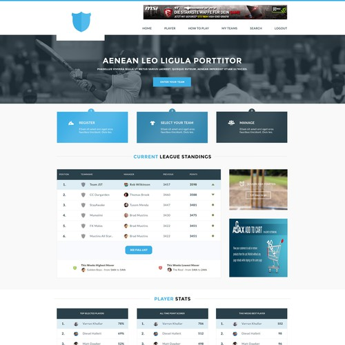 Web design for cricket fantasy league web page design for Indoor cricket net design