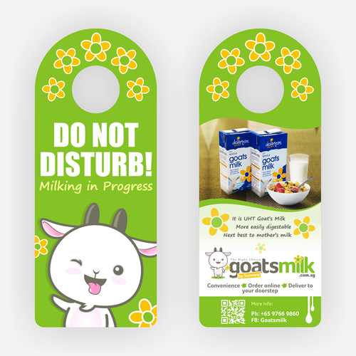 Create a cheeky postcard door knob hanger with my goat mascot. Design by M. Arief