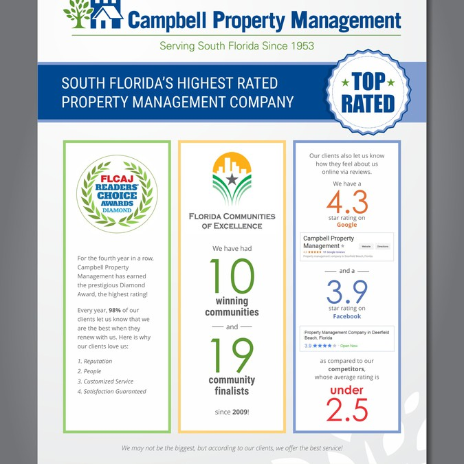 design a one page ad for campbell property management
