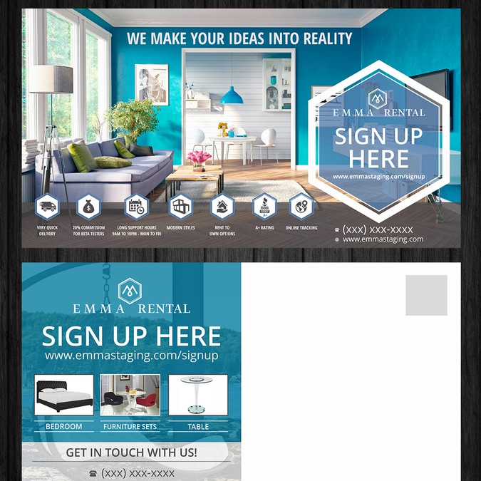 Design A Post Card For Furniture Rental Company Postcard Flyer Or Print Contest