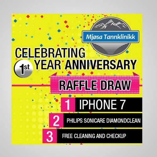 One year anniversary raffle draw advert | Social media page contest