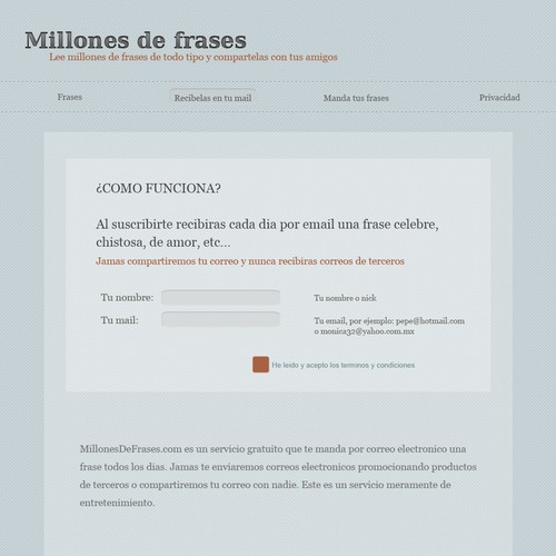 website design for Millones de frases (Millions of quotes