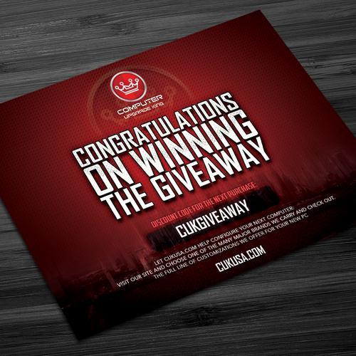 giveaway winner congratulations card postcard flyer or print