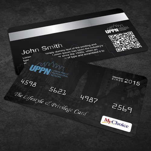 Black Membership Card  Front  Back  Business Card Contest