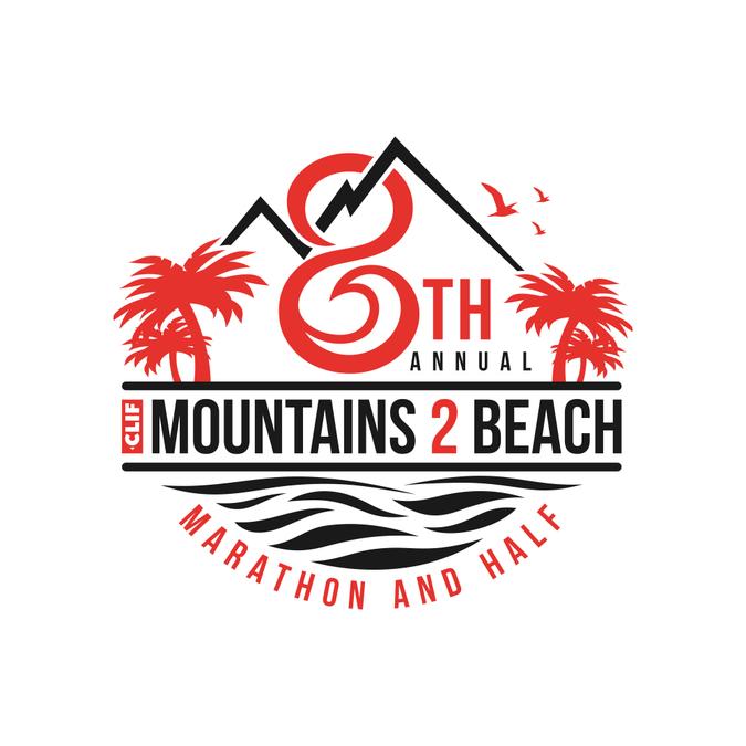 fd46a12e 8th annual Mountains 2 Beach Marathon and Half t-shirt design | Logo ...