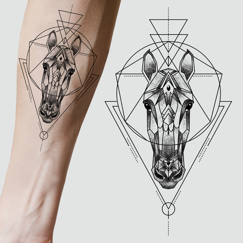 Looking for a tattoo design horse geometric pattern Design by Cubeecute