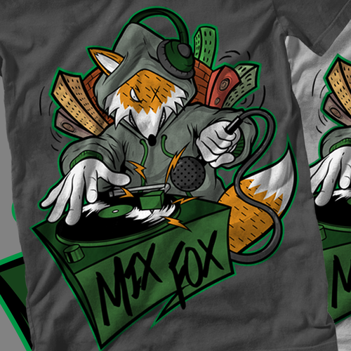 We are looking for a Hip-Hop themed humanoid fox scratching on djstyle turntables. Design by Koston