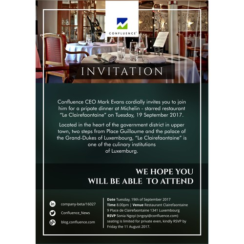 Dinner Invitation Design For Company Event Card Or