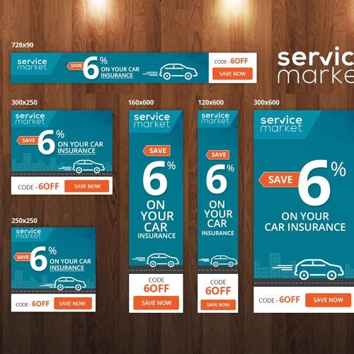 Modern/Hip Car Insurance Banner ads | Banner ad contest