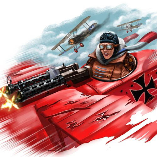 Badass red baron wwi fighter pilot fighting scene for Red baron tattoo