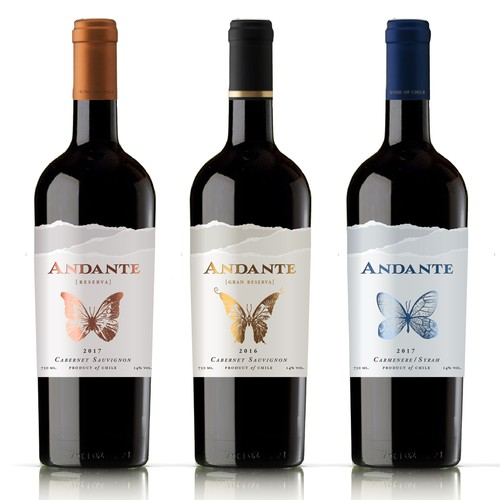 Wine label designer needed for Andante: award-winning, expertly curated wines from Chile Design by dguiraom