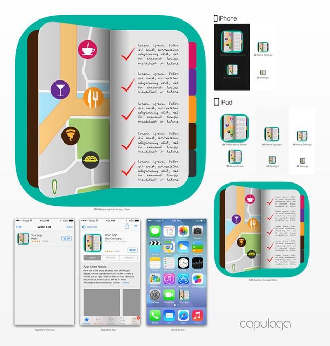 Store your best restaurants iphone app icon oder