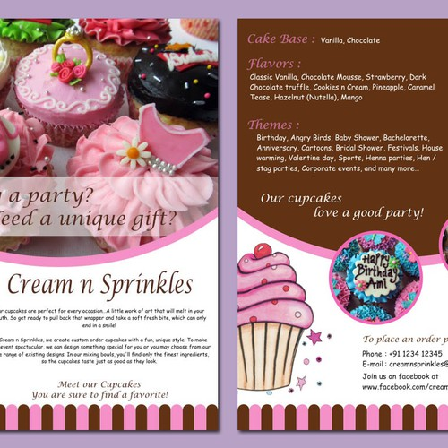 Cupcake Flyer for Cream n Sprinkles Design by CountessDracula