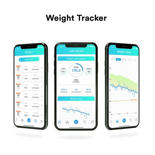 design simple professional ui for a weight tracker app アプリコンペ