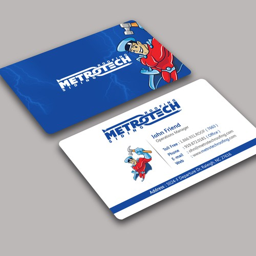Kick azz business card metrotech roofing corp business card contest runner up design by da viper reheart Choice Image