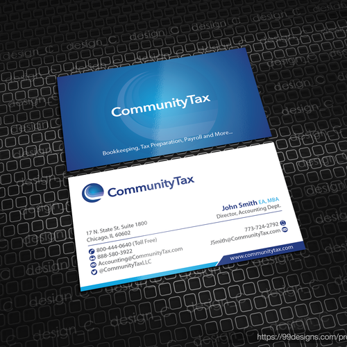 Create a business card for community tax business card contest runner up design by designc reheart Image collections