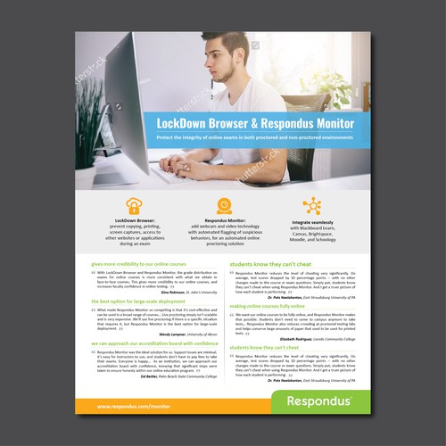 eye catching one page flyer to highlight software testimonials