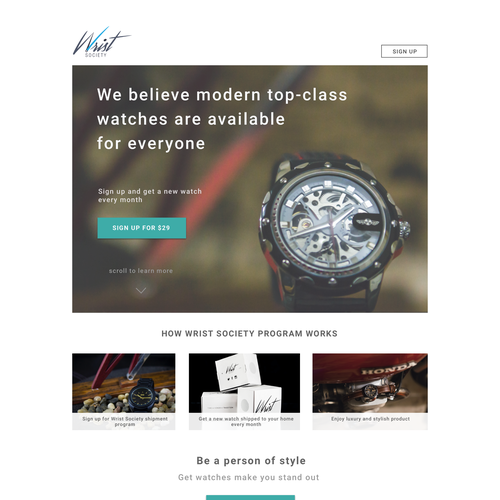 watch subscription company looking for a high converting landing