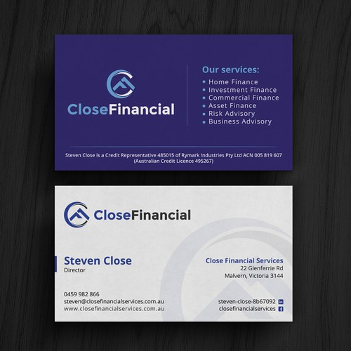 Finance business card business card contest runner up design by kaylee ck reheart