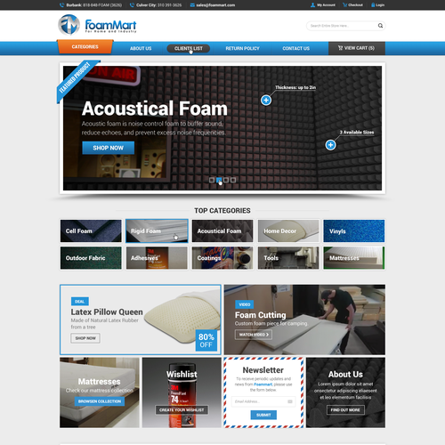 Create A New Website Design For A Company Specializing In Foam Products Services Web Page Design Contest 99designs