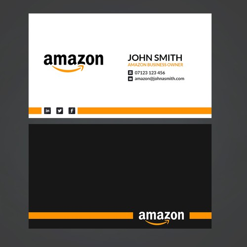 Business card design for amazon business owner business card contest runner up design by orangedan reheart Images