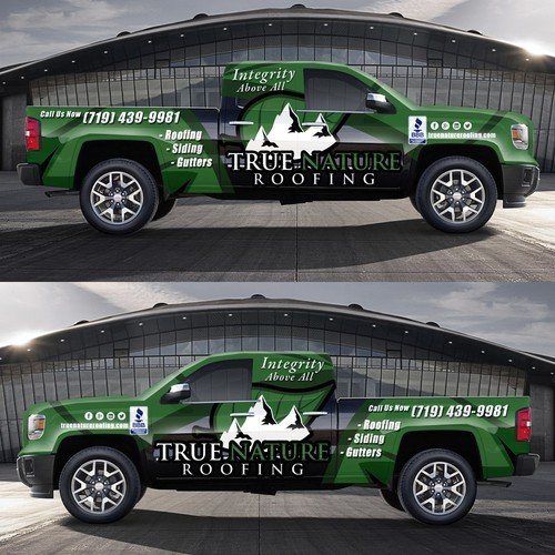 Roofing Vehicle Wrap : Create captivating vehicle wrap for roofing truck car